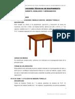 Especificaciones Técnicas muebles
