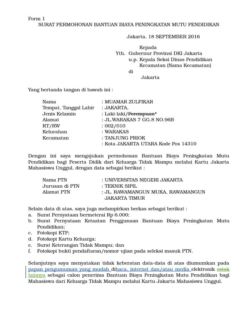 Contoh Surat Keterangan Tidak Mampu Dari Rt Untuk Kjp ...