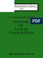 Aleksandr Samuilovich Solodovnikov Systems of Linear Inequalities Little Mathematics Library 1979