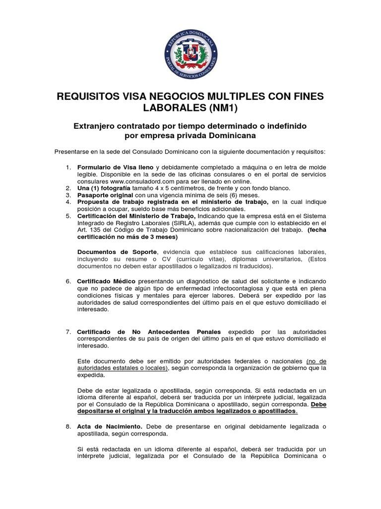 Visa NM1 Empresa Privada Dom