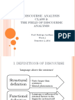 Class 2 the Field of Discourse Analysis - 2014