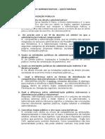 Direito Administrativo i - Questionário