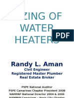 Sizing of Water Heaters