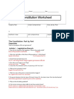 Constitution Worksheet Key