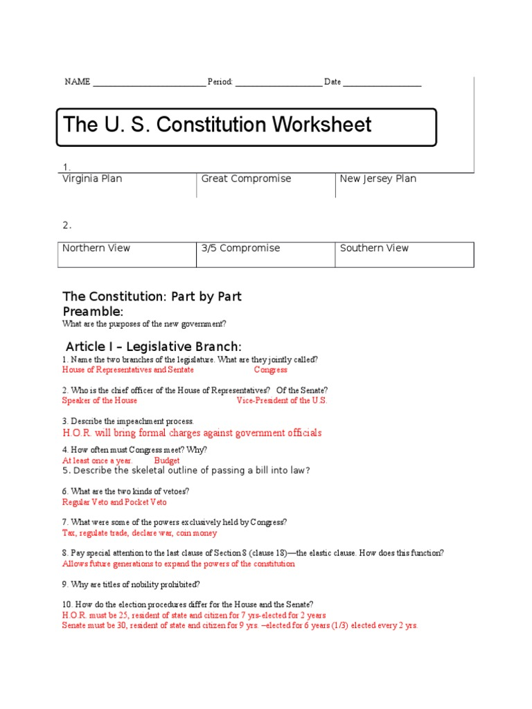 worksheet Us Constitution Worksheets constitution worksheet key united states government