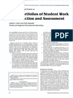 Arter, J. & Spandel, V. (1992). Using Portfolios of Student Work in Instruction and Assessment. Educational Measurement Issues and Practice, Spring, Pp. 36-44.