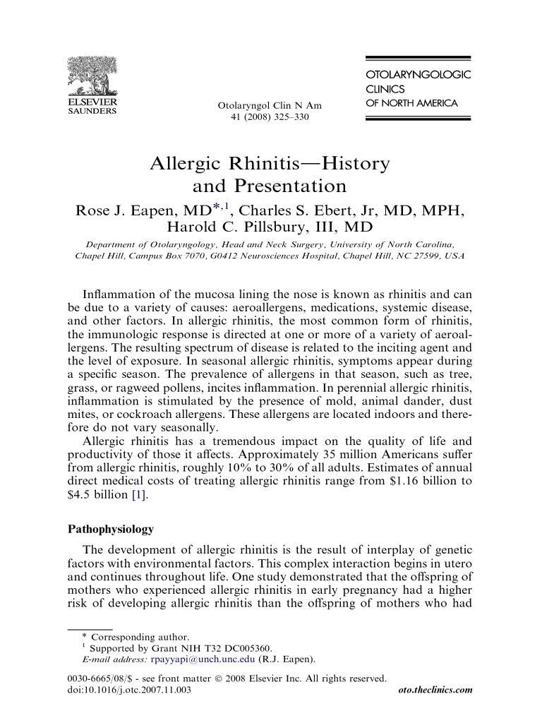 Allergic Rhinitis History and presentation pdf | Allergy