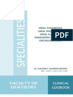 BACHELOR OF DENTAL SURGERY SPECIALITIES CLINICAL LOGBOOK