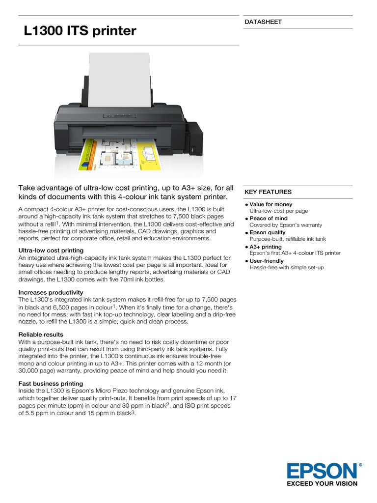 Epson L1300 A3 Colour Inkjet Tank System Printer Datasheet | Printer