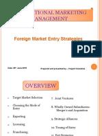 Foreign Market Entry Stratigies