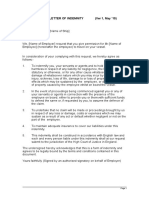 SFOPS 72 Indemnity Letter