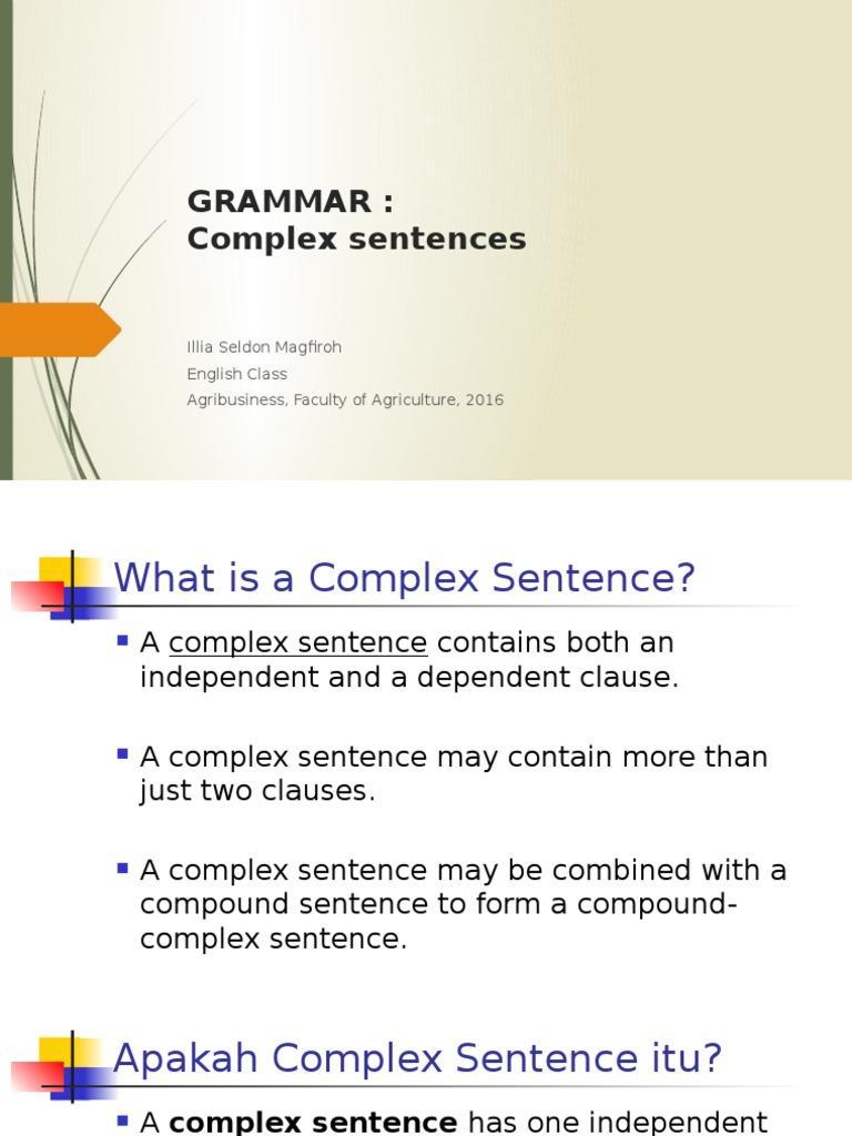 grammar 3 complex sentence clause sentence linguistics