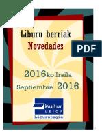 2016ko iraileko liburu berriak -- Novedades de septiembre del 2016