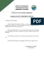 Barangay Certification Ybiosa, Jessa