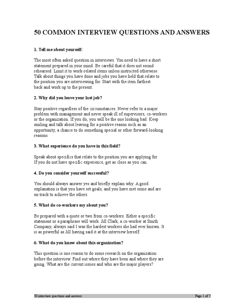50 COMMON INTERVIEW QUESTIONS AND ANSWERS.doc | Interview | Leadership U0026  Mentoring
