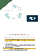 UNIDAD DE APRENDIZAJE N° 06  1° GRADO  ED. PRIMARIA 2016 AGOSTO