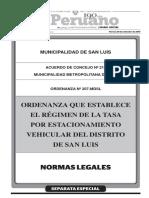 Ordenanza que establece el régimen de la tasa por estacionamiento vehicular del distrito de San Luis