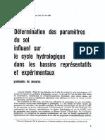 Paramètres hydrogéologique du sol dans les bassins expérimentaux