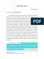 Objeto de La Ética. Adolfo Sánchez v Subrrayado.