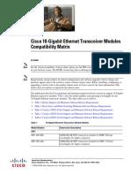 10-GB Ethernet Transceiver Compatibility Matrix