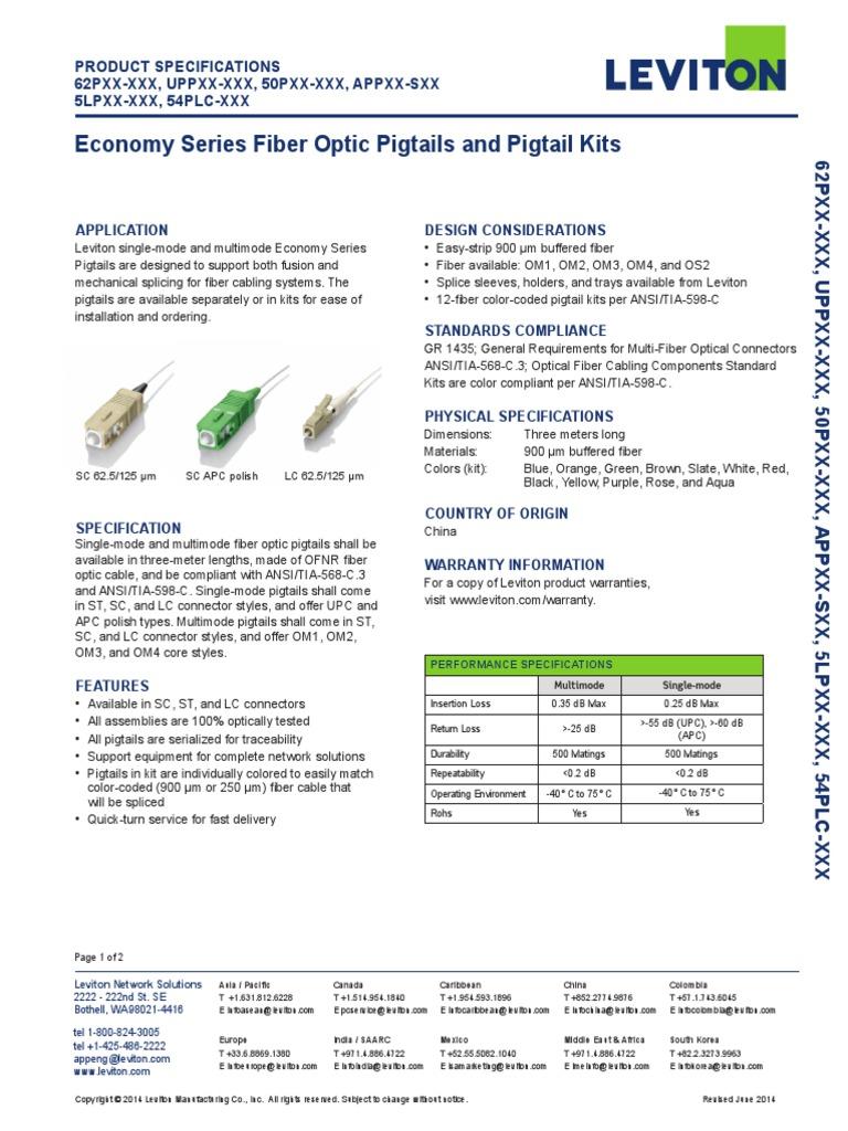 Leviton EcoLeviton_Economy_Series_Fiber_Pigtailsnomy Series Fiber ...