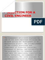 Selection for a Civil Engineer