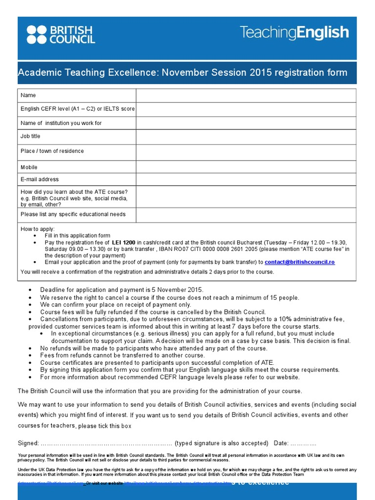 Academic Teaching Excellence Course Registration Form Nov15 ...