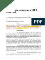 ORDENANZA MUNICIPAL N° 20-2015-MDA APROBAR SOBRE PINTAS POLITICAS