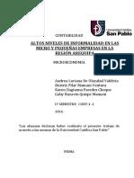 Altos Niveles de Informalidad de Las Micro y Pequeñas Empresas en La Region Arequipa Final