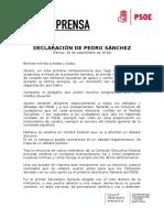 Declaración Pedro Sánchez