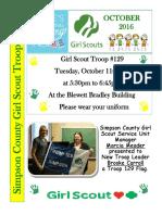 Gs Troop 129 Oct Newsletter