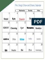 October 2016 Show and Share Calendar