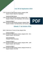 Actividades Fin de Semana 30 de Septiembre, 1 y 2 de Octubre 2016