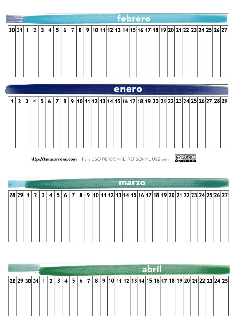 Calendario Montessori.Calendario Lineal Montessori Esp Pdf