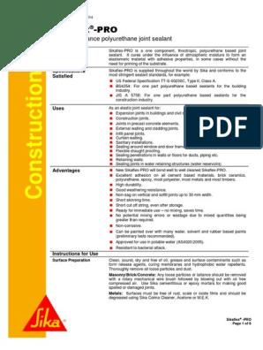 SikaFlex-Pro - Data Sheet | Paint | Adhesive