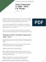 Telangana History Important Dates Since 1948 - 2014 English & Telugu