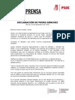Declaración Pedro Sánchez 300916