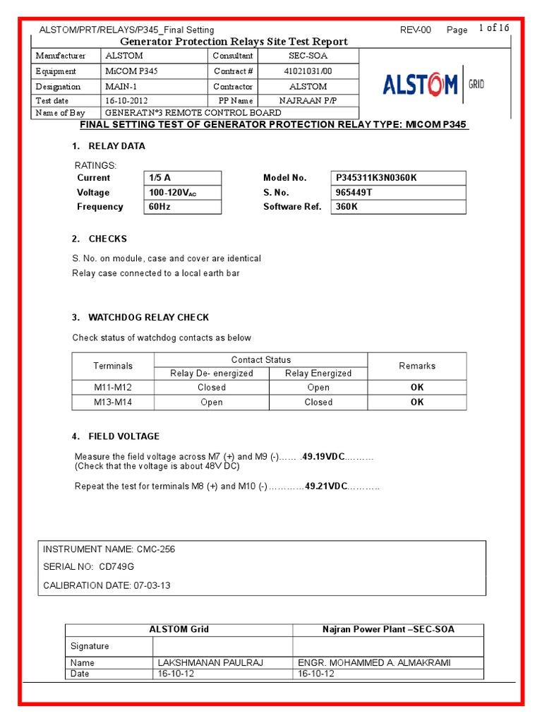 PRelayTestReport Relay Electrical Impedance - Alstom electromagnetic relay catalogue