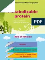 Presentation of Metabolizable Protein