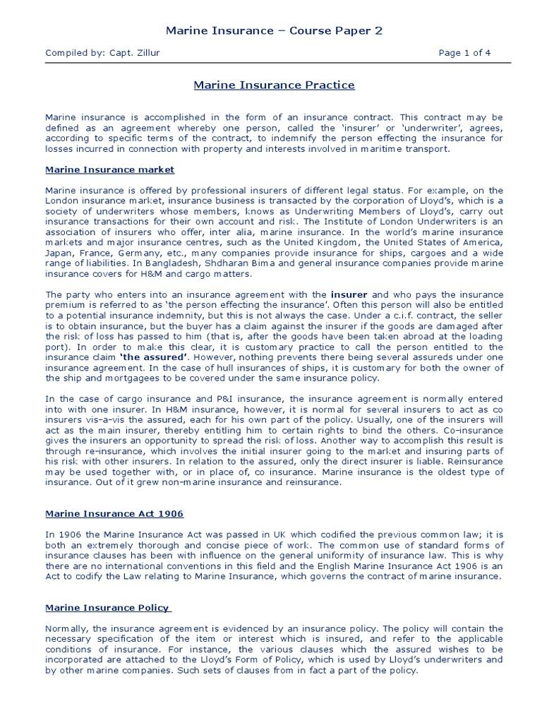 Marine Insurance Course Paper 2 Reinsurance Insurance