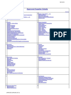 Approved Supplier List-up to 2012   United Arab Emirates   Dubai