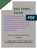 Studentwhiz - QNT 561 Week 2 Practice Problems