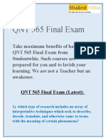 QNT 565 Final Exam Solutions on Studentwhiz