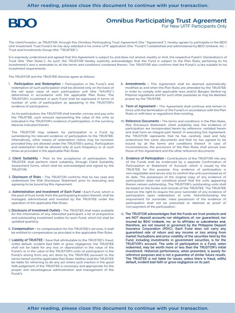 Omnibus participating trust agreement trust law trustee platinumwayz