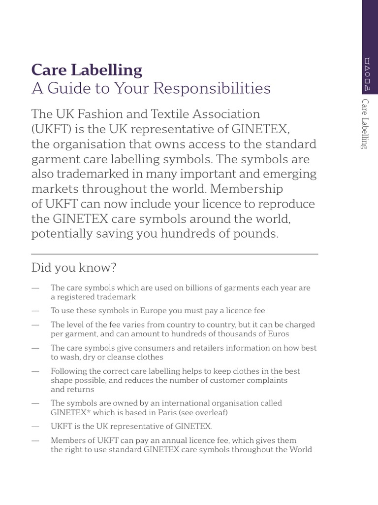 Care Labelling Document Retail Fashion Beauty
