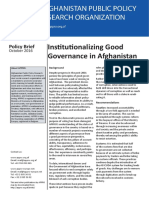Policy Brief - Institutionalizing Good Governance in Afghanistan