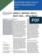 Position Paper - Mdg 5, Napwa, Sdg 5, Nap 1325