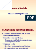 INVENTORY -- Planned Shortage Models