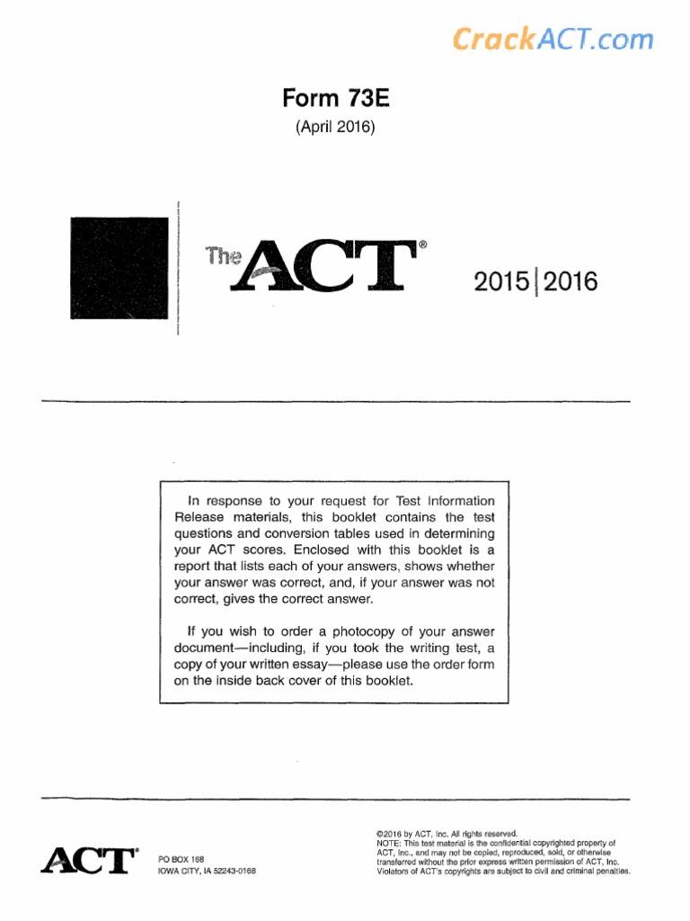 Act 201604 Form 73e Www Crackact Com Pdf Princeton review act prep, 2020: scribd