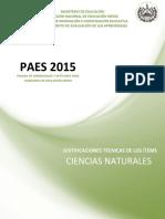 Justificaciones Paes 2015 Ciencias Naturales